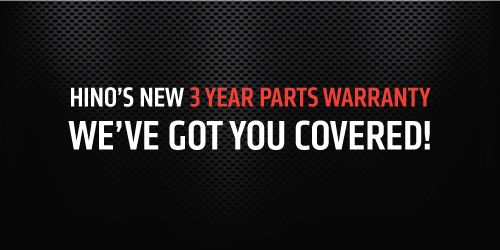 New! Hino Trucks 3 Year Parts Warranty